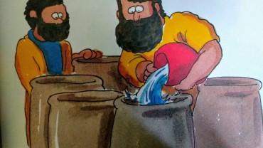 Kruiken worden met water gevuld